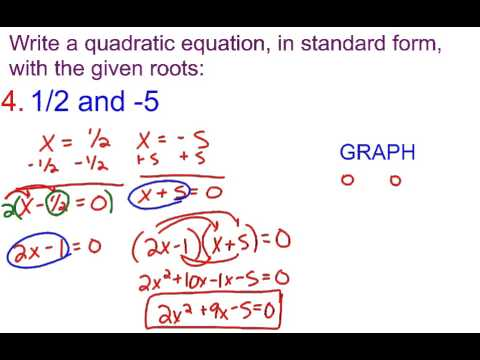 6-3B Writing a Quadratic Equation in standard form with given roots