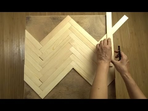 Use Paint Sticks to Create a Herringbone Pattern for a Tabletop