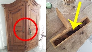 Guy Accidentally Finds Grandpa's Old Hidden Items In A Secret Compartment In A Cabinet