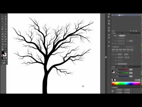 Bare tree - Adobe Illustrator cs6 tutorial. Quick and easy way how to draw black silhouette tree