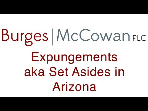 Expungement in Arizona aka a Set Aside