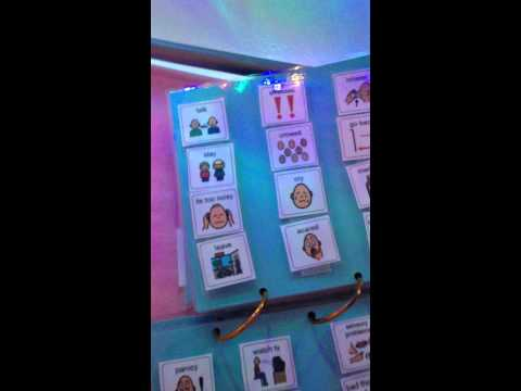 Autism view of rope lights and pecs book