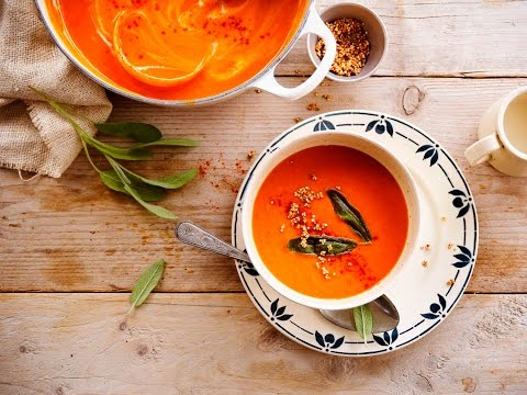 Alpro Recipe - Roast Pepper and Parsnip Soup with popped Quinoa