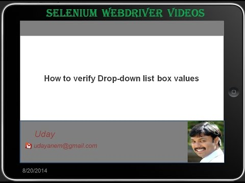 [Selenium WebDriver Videos]: How to verify drop down listbox values
