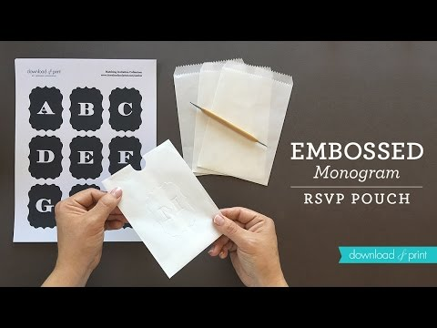 DIY Embossed Monogram RSVP Pouch