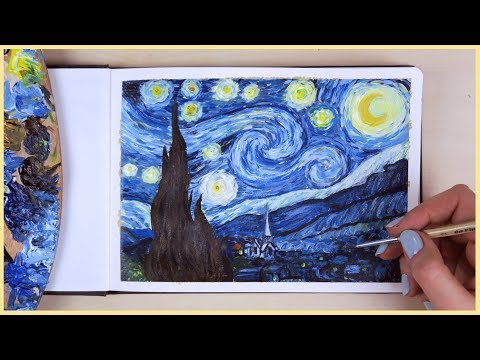 How to Paint the Starry Night with Acrylic Paint Step by Step   Art Journal Thursday Ep. 24