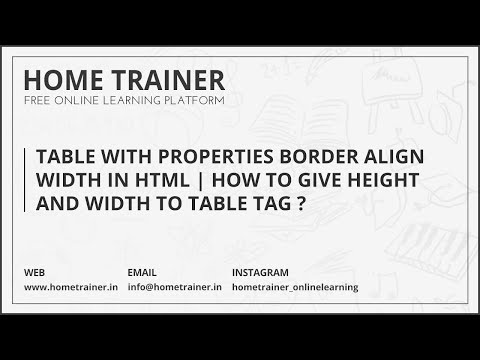 Table With Properties Border Align Width In HTML | How To Give Height And Width To Table Tag ???