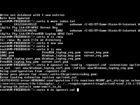 FreeBSD WPA2 Enterprise: Generate Self-Signed Certs with OpenSSL