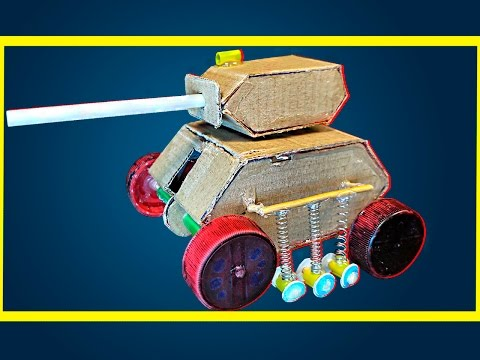 How to Make Electric Robot Tank Out of Paper with 9v Battery - Tank DIY