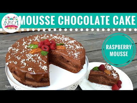 Chocolate Cake with Mousse and Raspberries | Healthy Recipes - Spicy Latina Mom