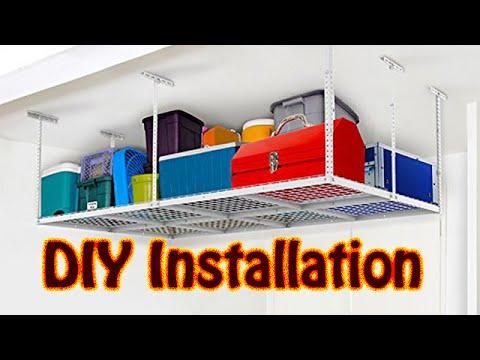 DIY Fleximounts Overhead Garage Adjustable Ceiling Storage Rack Installation Joist Not 24