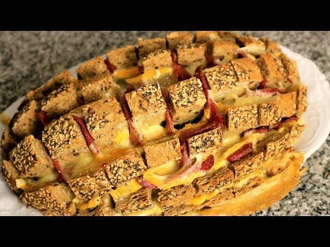 Salami & cheese stuffed multigrain bread recipe