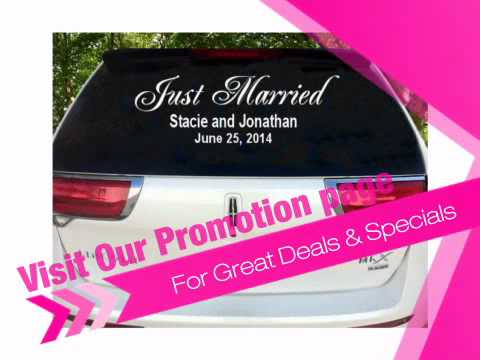 Custom Just Married Car Decals - Choose Colors and Fonts! - AdvantageBridal.com