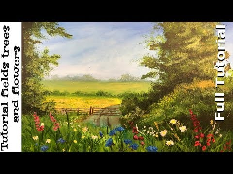 Acrylic Landscape Painting Tutorial fields trees and flowers