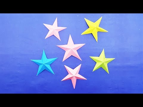 How to make 3D Origami Star - Easy Paper Stars making tutorial   DIY Crafts