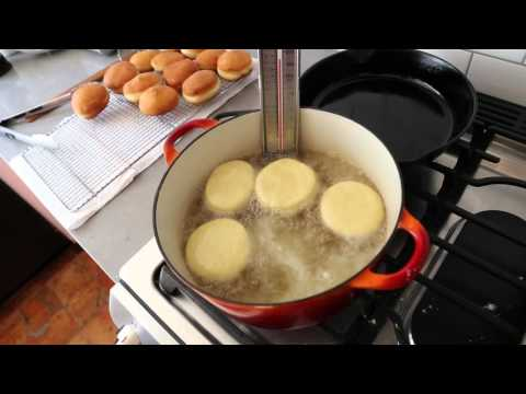 Frying Strawberry Jam-Filled Jelly Donuts (Sufganiyot) for Hanukkah