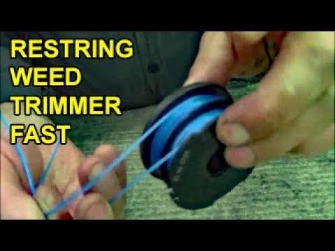 How to restring dual-sided spool lawn weed eater trimmer with 2 strings