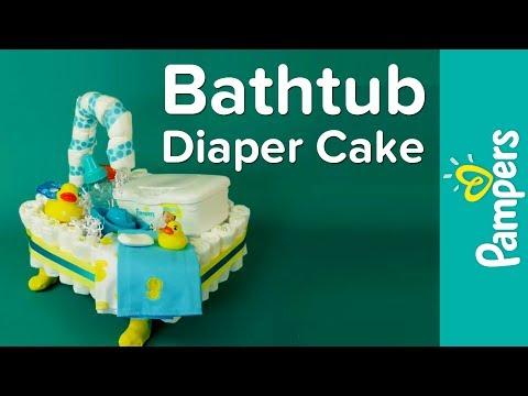 Bathtub Diaper Cake Instructions | Pampers DIY Diaper Cake Ideas