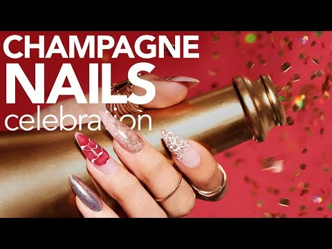 Champagne Nail Art with Young Nails (Glitter Press/Fade, Ombre, Bubbles)
