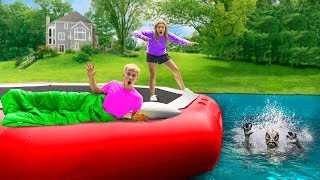 Download 24 Hour Overnight Challenge on Backyard Inflatable Water Trampoline!! (Pond Monster Found Hiding) Video