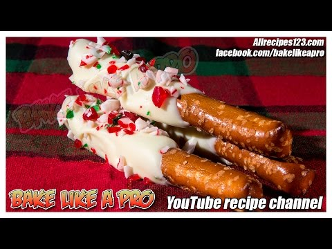 White Chocolate Peppermint Candy Cane Mini Pretzel Rods Recipe   BakeLikeAPro