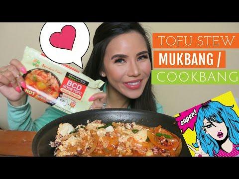 Soft Tofu Stew Mukbang/Cookbang [순두부찌개] | Eating Show | English Mukbang | Korean Food 😋💗💜