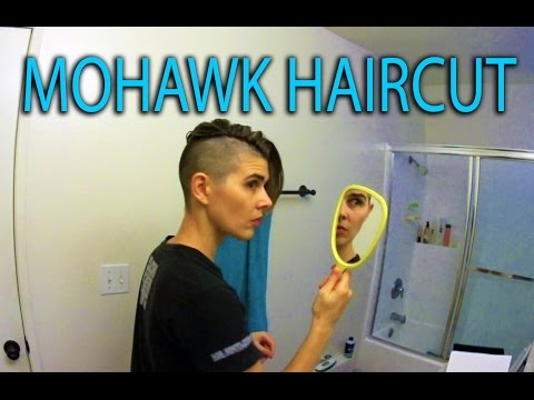 Mohawk Haircut with clippers - punk rock hairstyle on a woman