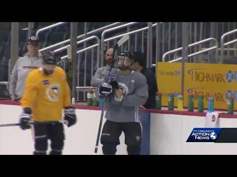 Evgeni Malkin, Brian Dumoulin, Carl Hagelin skate before Penguins-Capitals Game 3