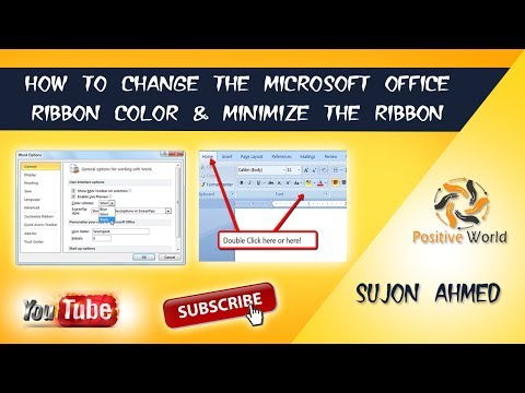 How to change Microsoft Office Ribbon color & Minimize the Ribbon