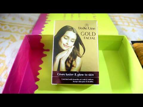I tried Vedic Line Gold Facial Kit from Glam ego April Box / How to do Facial at home