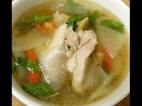 Thai food Chicken soup with soy bean sauce