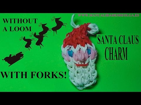 Christmas. Santa Claus charm without a rainbow loom. With 2 forks! tutorial diy