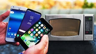 Microwave Survival Test! Galaxy S8 vs iPhone 7 vs Pixel XL!