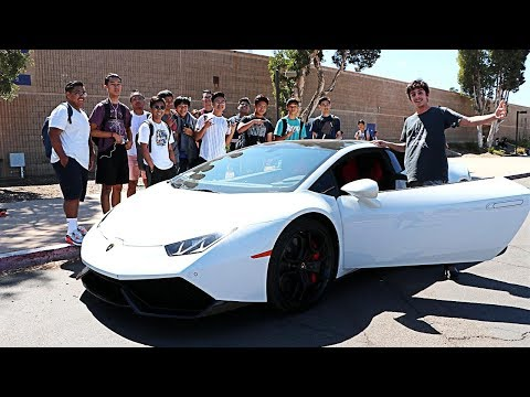 DRIVING MY LAMBORGHINI TO MY OLD HIGH SCHOOL!! *COPS CALLED*