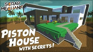 PISTON HOUSE with SECRET ROOMS! - Scrap Mechanic Gameplay Viewer Creations!
