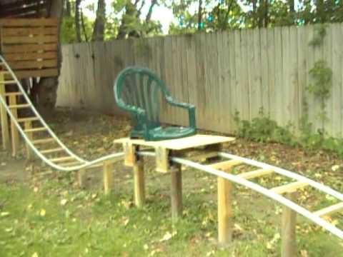Backyard Homemade PVC Roller Coaster Thrillium- Offride Test 1