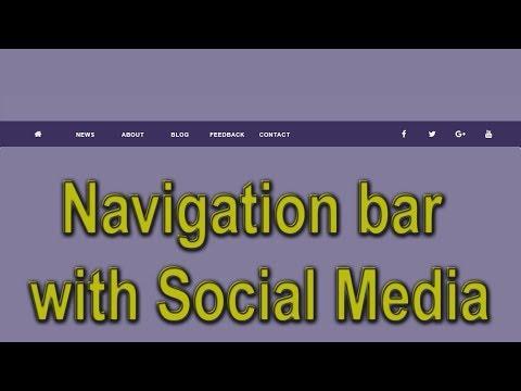 Navigation bar with social media