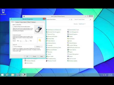 Windows 8.1 - Mouse Options - Double Click Speed - Pointer Size - Pointer Speed