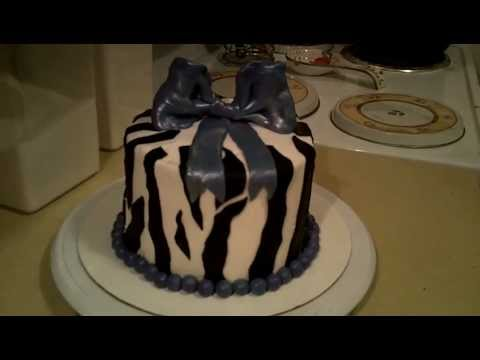 How to Make a Fondant Buttercream Zebra Cake with Bow on Top!