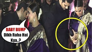 Neha Dhupia Tries To HIDE Her BABY BUMP At  Poorna Patel