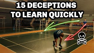 15 Badminton DECEPTION/TRICK SHOTS - Get the Advantage In Every Rally!
