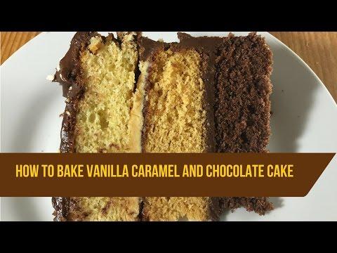 Vanilla caramel and chocolate layer cake