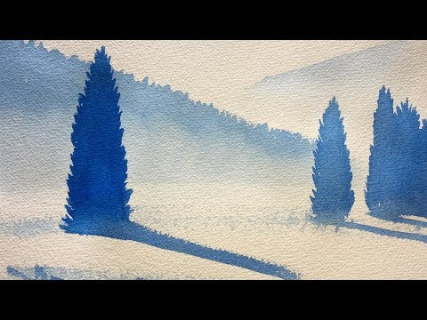 Easy Watercolor Lesson on Painting Fir Trees