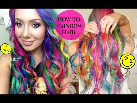 How To- RAINBOW HAIR!! AT HOME! DIY    Jade Madden