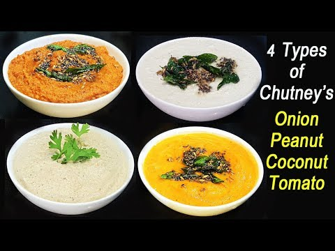 TOP 4 Regular Chutneys for Dosa, Idli , Chapathi & Poori | Step by Step Method | MadhurasRecipe