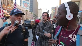 Black Trump supporter debates Man with fake beats HOLLYWOOD CA Nov 5th