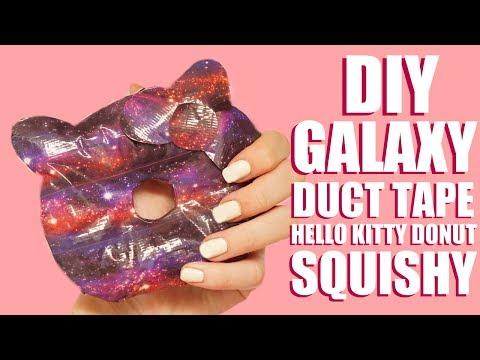 DIY GALAXY DUCT TAPE SQUISHY   Hello Kitty Donut Squishy