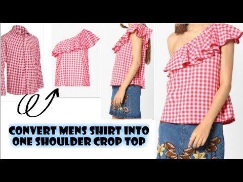 DIY Men's Shirt Into One Shoulder Ruffle Crop Top In 10mins|Re-use Of Old Men's Shirt|