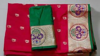 Paithani silk saree blouse design|cutting and stitching back