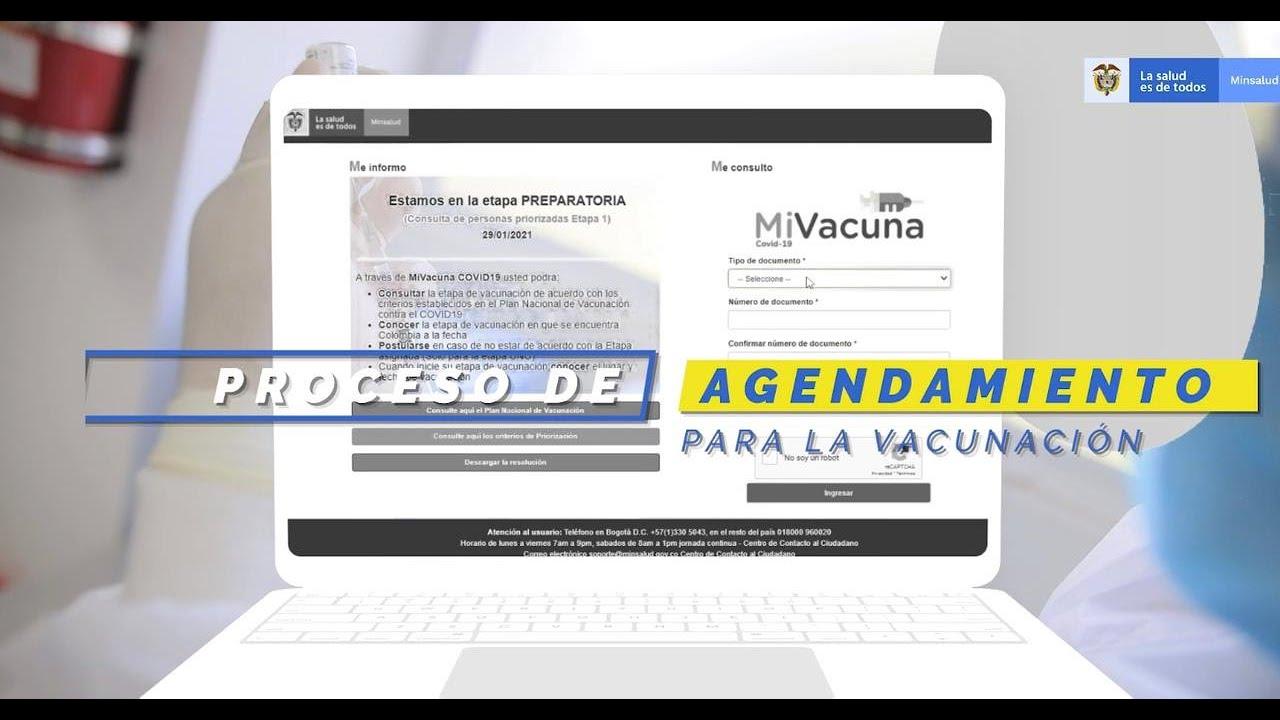 Proceso de agendamiento para la vacunación
